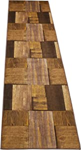 "Nature Inspired Printed Runner Rug Slip Resistant TPR Rubber Back Exotic Patterns (Hardwood Brown Taupe, 1'11"" x 6'11"")"