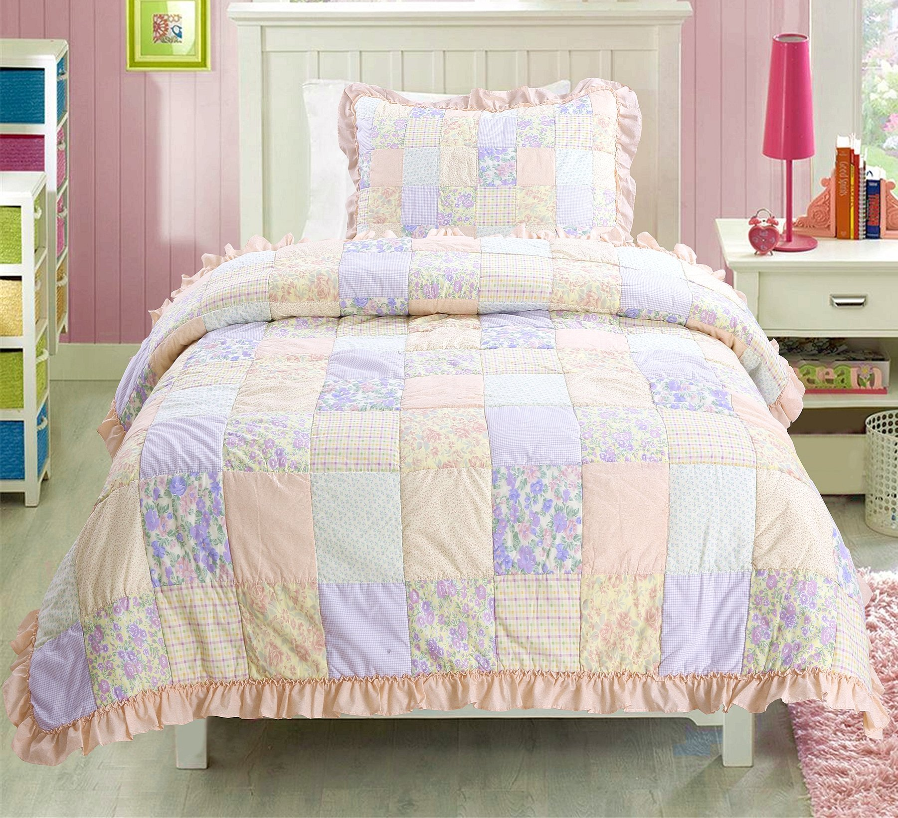 Cozy Line Home Fashions Peach Lace Floral Pink Green Orchid Rose Flower Printed Patchwork 100% Cotton Quilt Bedding Set Bedspread Coverlet for Baby/Little Girls (Peach, Queen - 2 Piece) by Cozy Line Home Fashions