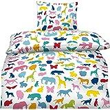 Aminata Kids - bunte Jungen Mädchen Kinder-Bettwäsche 135x200 Baumwolle Wilde-Tiere Zoo-Tiere Bettwäsche-Kinder Pferd Eule Katze Elefant Löwe Hund Schmetterling Reißverschluss bunt