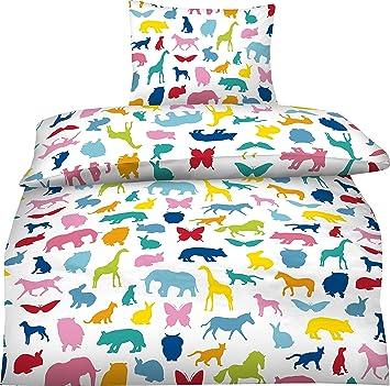 Aminata Kids Kinder Bettwäsche Set 135 X 200 Cm Zoo Tiere Wilde