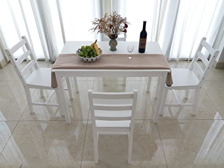 Nice Solid Wood Dining Table And 4 Chairs Dining Set (White)