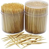 MontoPack Bamboo Wooden Toothpicks |1000-Piece Large Wood Round Toothpicks in Clear Plastic Storage Box | Sturdy Safe Double