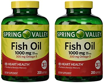Spring Valley - Fish Oil Omega-3, 1000 mg, 400 Softgels, Twin