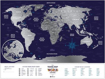 Amazoncom Silver Scratch Off Travel World Map Premium Edition - Us states i ve been to map