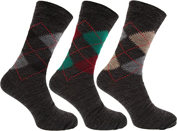 Severyn calcetines con mezcla de lana de corderos Estampado a rombos tradicional con Lycra (Pack de 3) (39-45 EU/Tonos de gris): Amazon.es: Ropa y accesorios