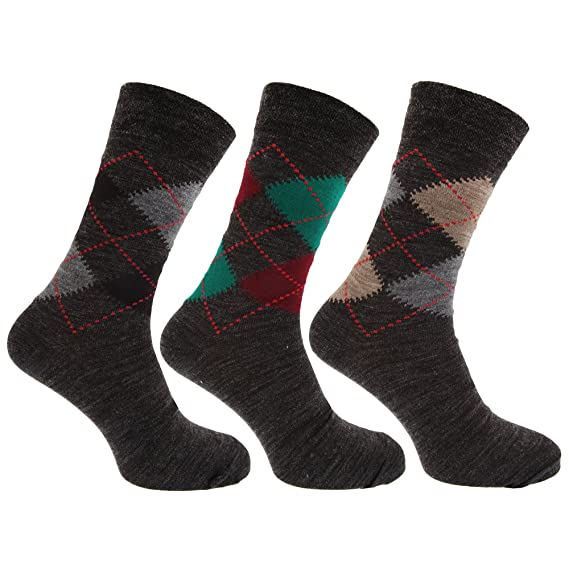 calcetines con mezcla de lana de corderos Estampado a rombos tradicional con Lycra (Pack de