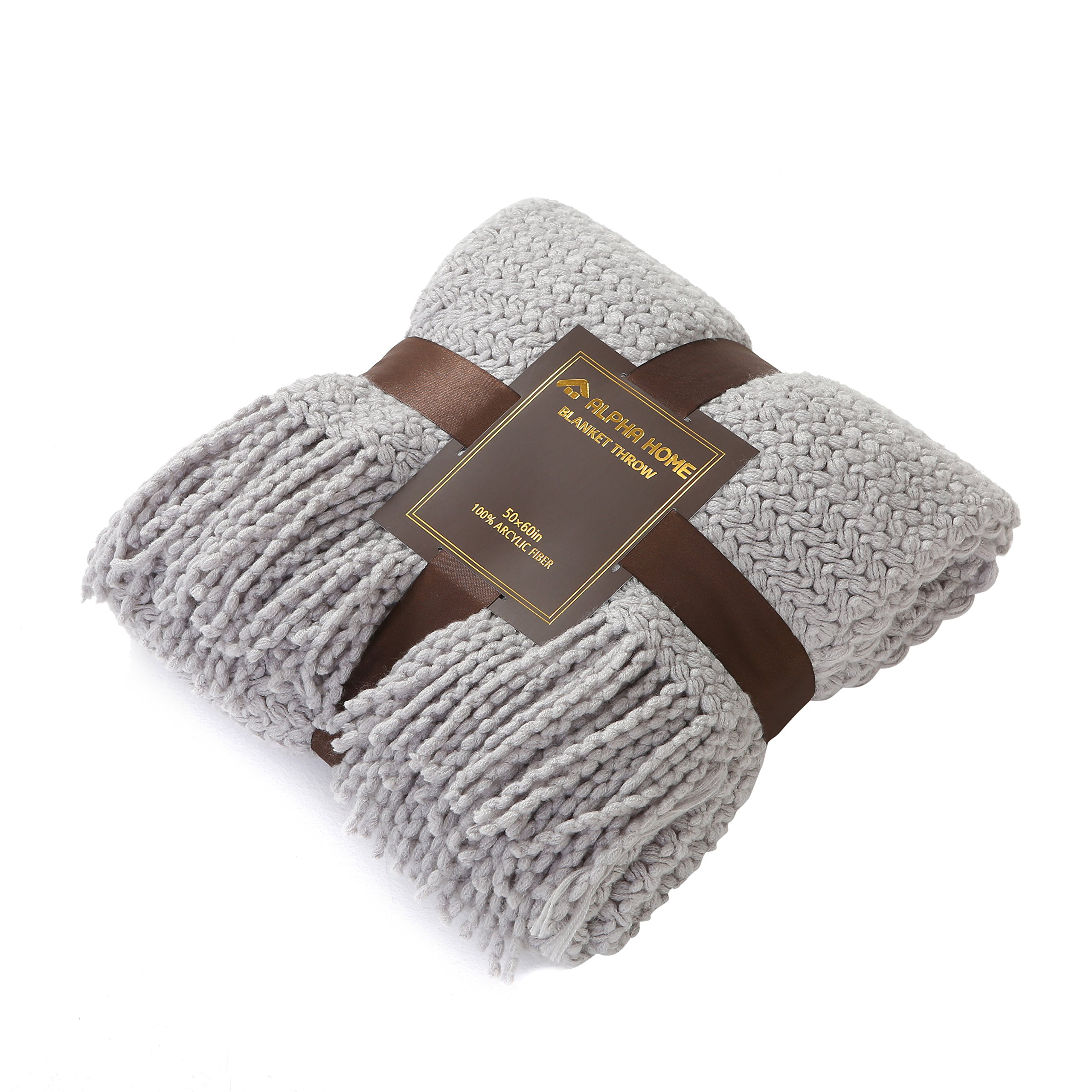 ALPHA HOME Knit Throw Blanket Warm & Cozy for Couch Sofa Bed Beach Travel - 50'' x 60'', Light Gray