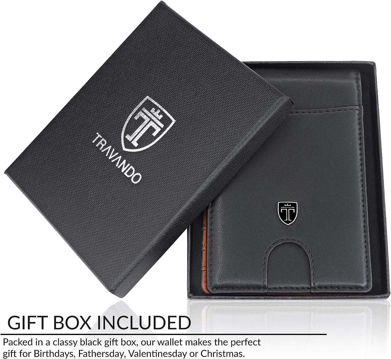 Black /& Orange TRAVANDO Slim Wallet with Money Clip SEATTLE RFID Blocking Card Mini Bifold Men