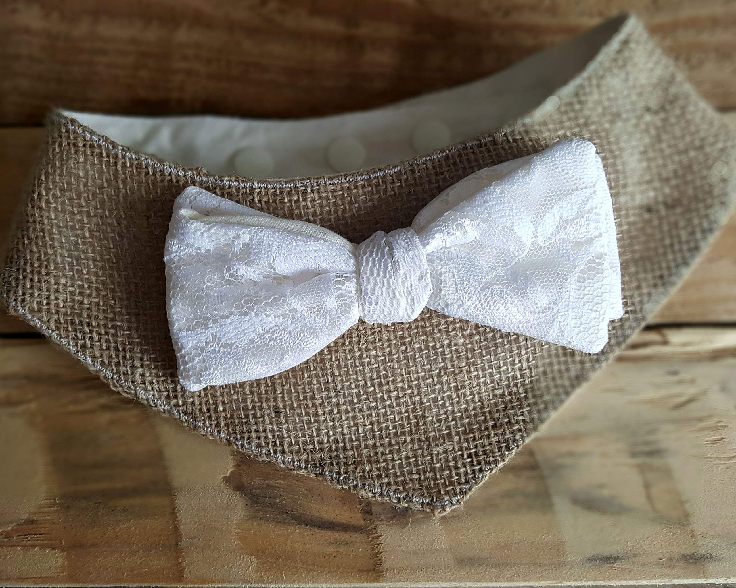 Dog Wedding Attire - Burlap and Lace Bow Tie Bandana by Giddings Gifts
