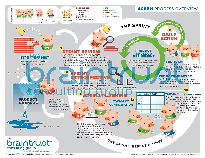 Amazon.com : Learn Scrum Visually! - Laminated Scrum Process Diagram ...
