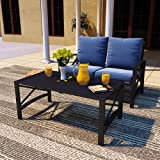 PatioFestival Outdoor Patio Conversation Sectional Set Patio Furniture Set Modern Loveseat with Cushions,Coffee Table, Metal