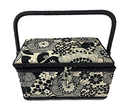 Amazon.com: Medium Rectangle Sewing Basket Box with Tray Pincushion ...