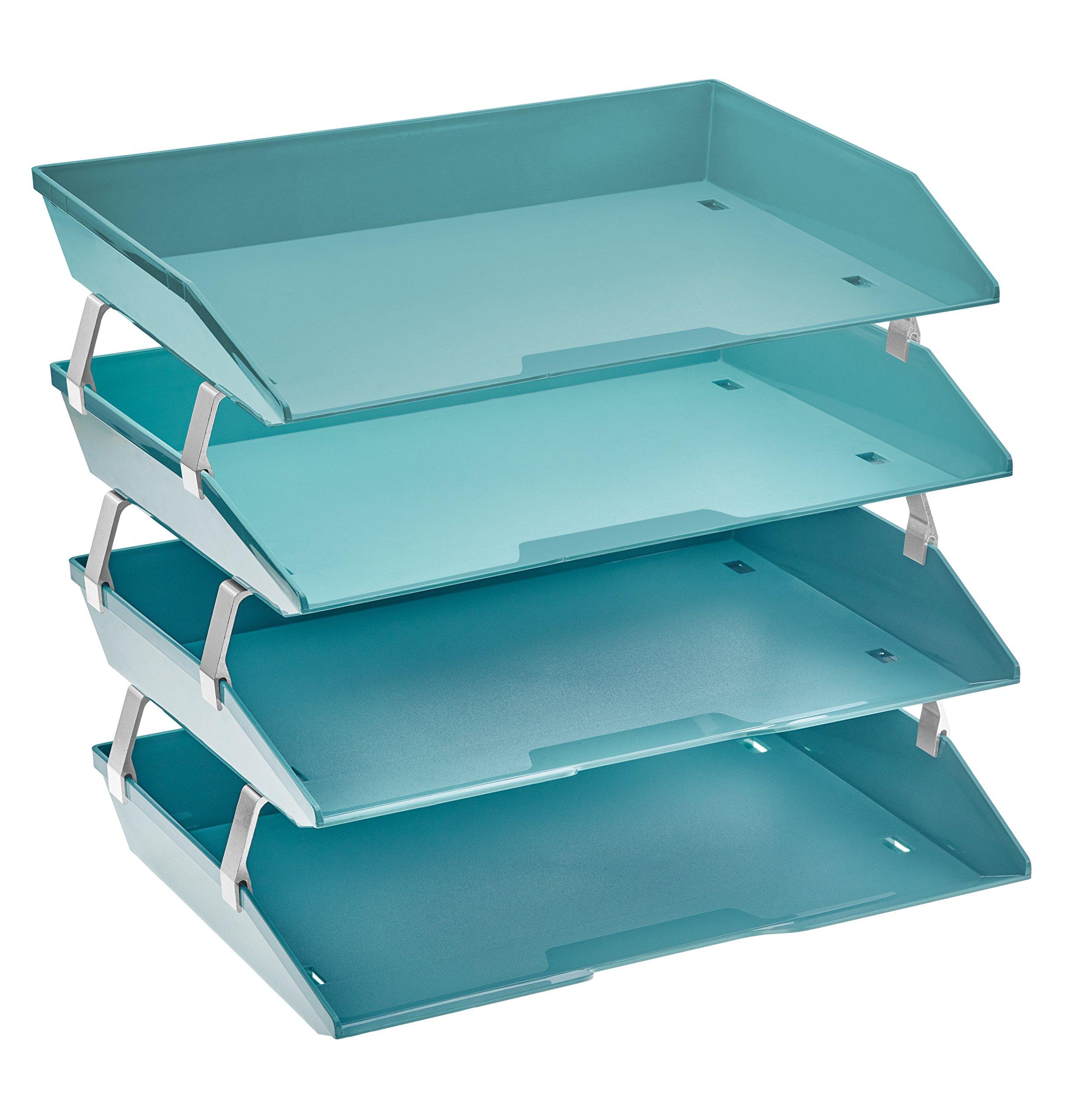 Acrimet Facility 4 Tier Letter Tray Side Load Plastic Desktop File Organizer (Solid Green Color) by Acrimet