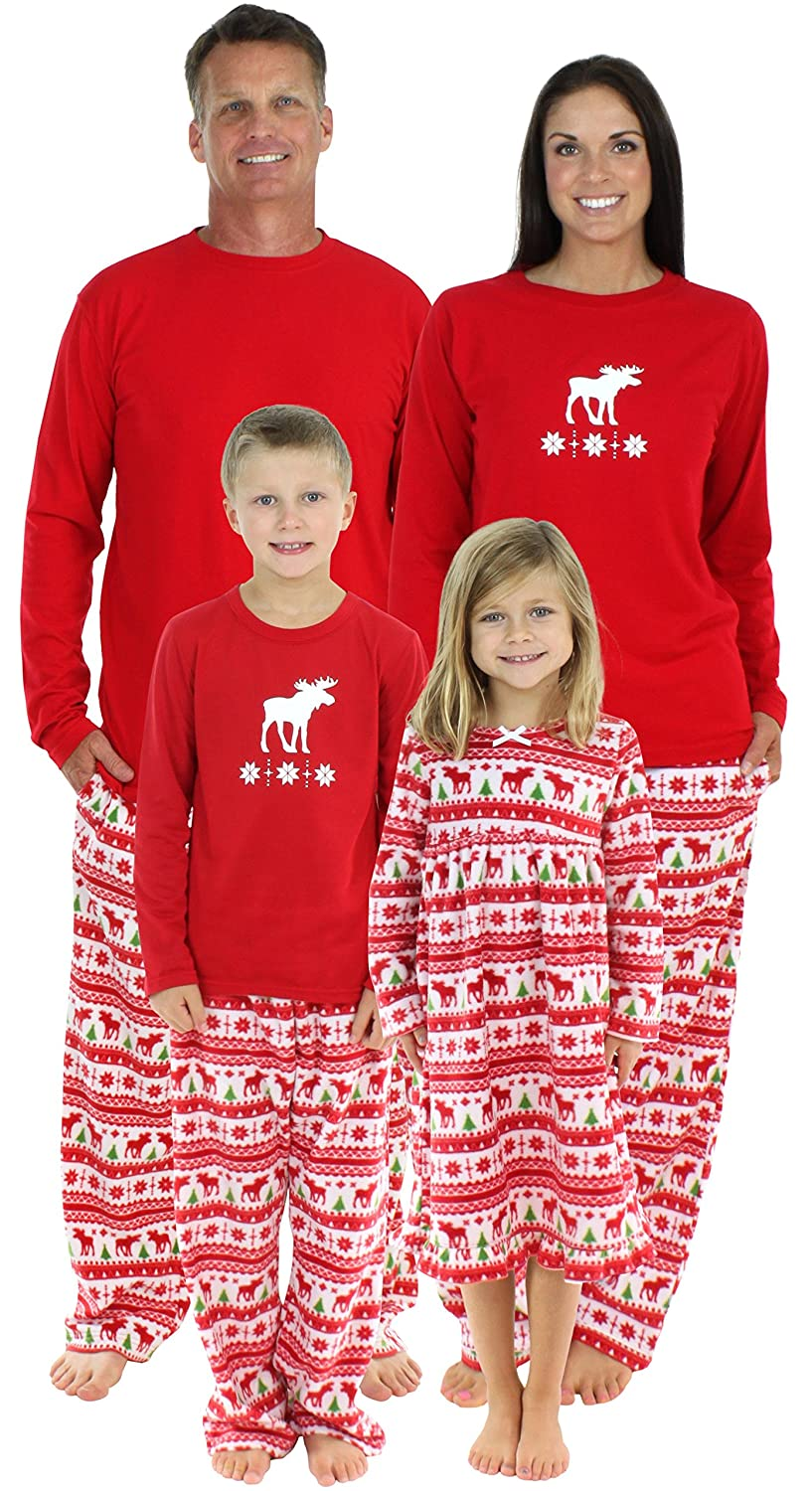 f0e93b3f77 SleepytimePjs Family Matching Moose Fleece Pajamas PJs Sets for The Family
