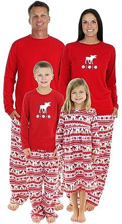 2be1d34f7 Amazon.com  SleepytimePjs Family Matching Moose Fleece Pajamas PJs ...