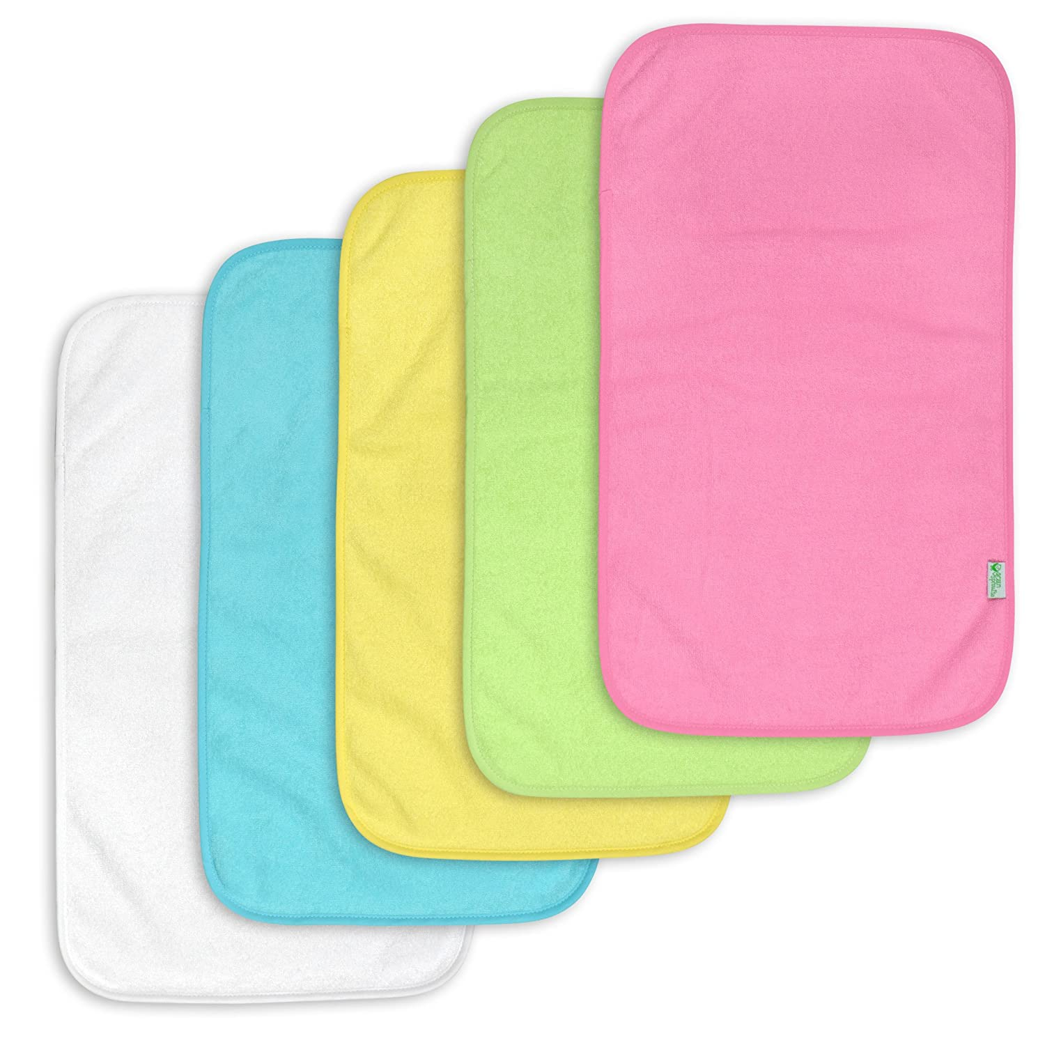 green sprouts 5 Count Waterproof Absorbent Terry Burp Pad, Pink