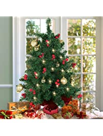 best choice products 22 tabletop pre lit christmas tree battery operated with red berries - Pre Lit Christmas Tree