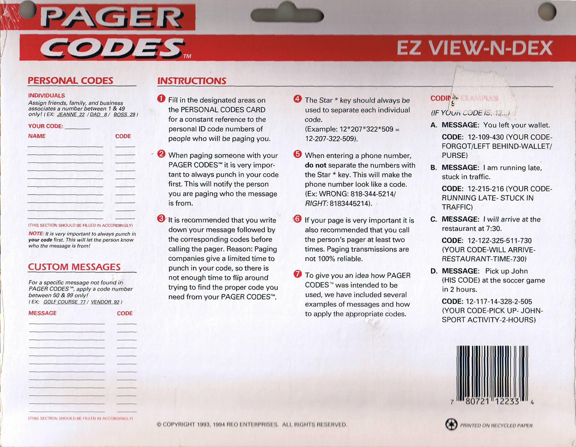PAGER CODES : EZ VIEW-N-DEX: A UNIVERSAL SYSTEM FOR TRANSMITTING ...