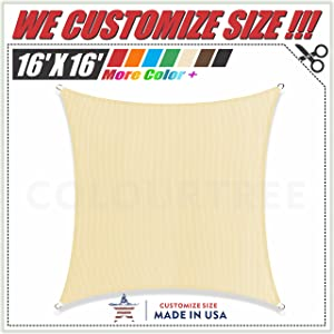 ColourTree 16' x 16' Beige Sun Shade Sail Canopy Square, Commercial Standard Heavy Duty, We Make Custom Size