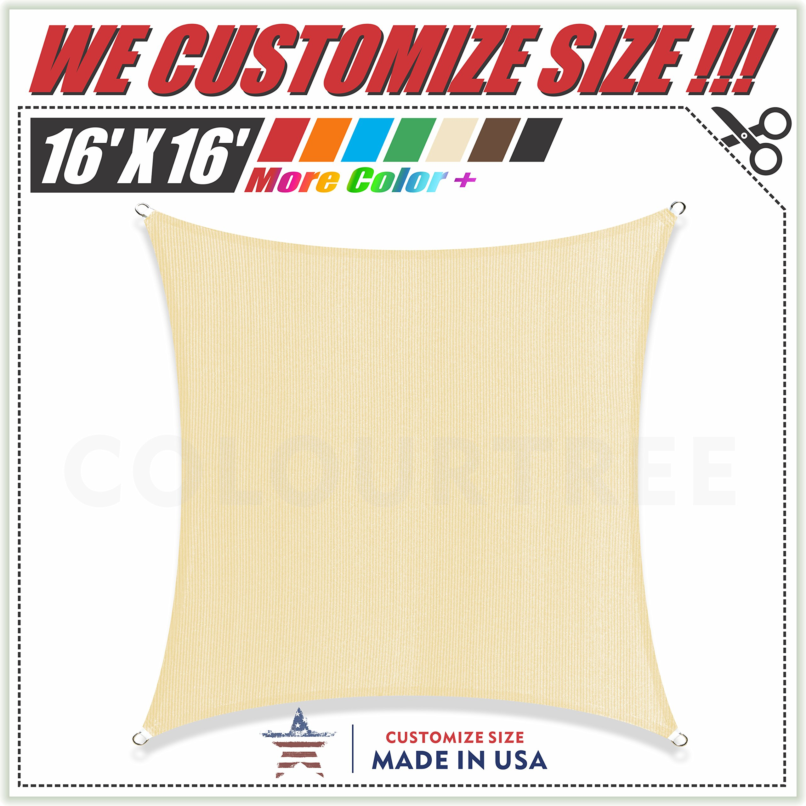 ColourTree 16' x 16' Beige Sun Shade Sail Square Canopy – UV Resistant Heavy Duty Commercial Grade Outdoor Patio Carport (We Make Custom Size)