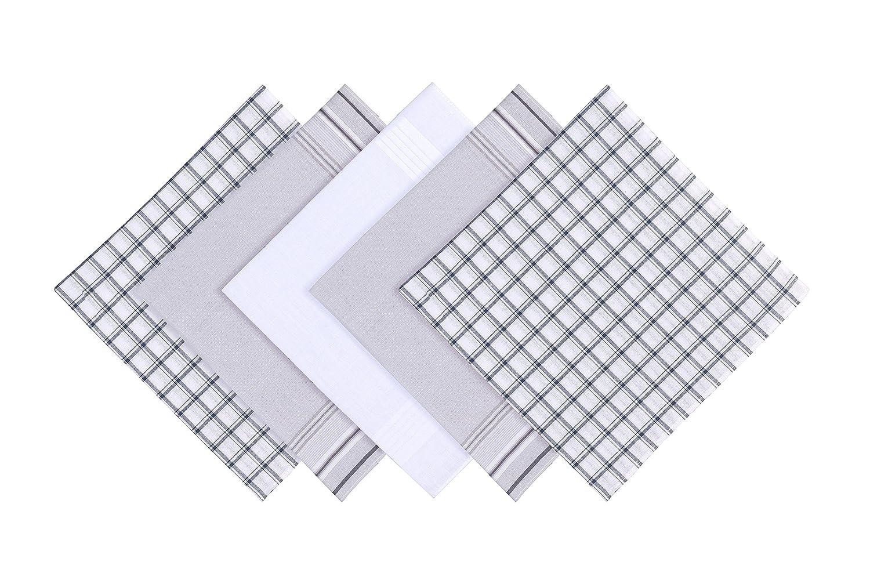 Blank&Black 100% Pure Cotton Men's Handkerchief 5 Pieces Gift Set 4001)