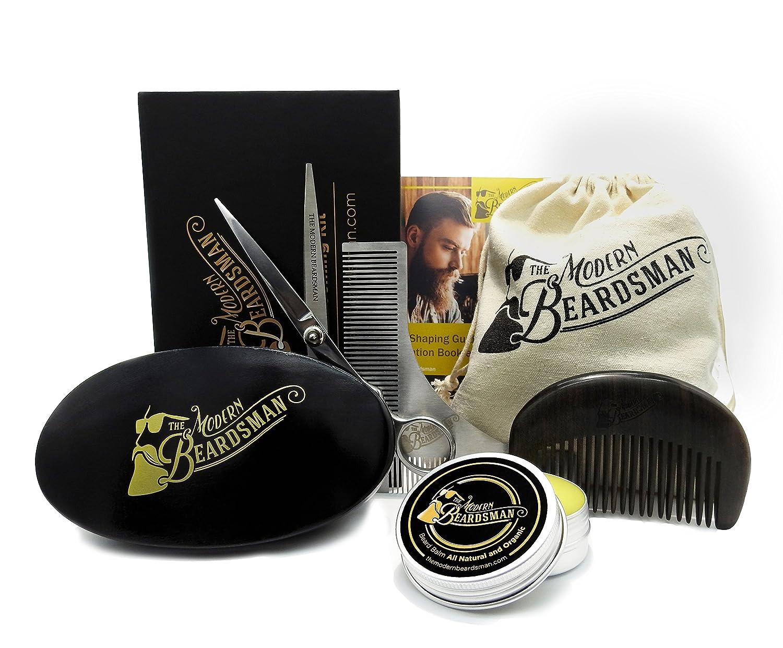 7 Piece Premium Beard Grooming Kit. Beard Care Kit with Boar Bristle Beard Brush and Sandalwood Beard Comb. The Modern Beardsman