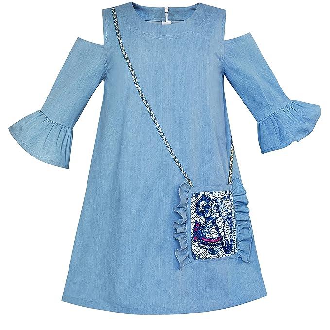 Sunny Fashion Vestido para niña Hombro frío Mezclilla Azul Vaquero Manga 3/4 6-12 años: Amazon.es: Ropa y accesorios