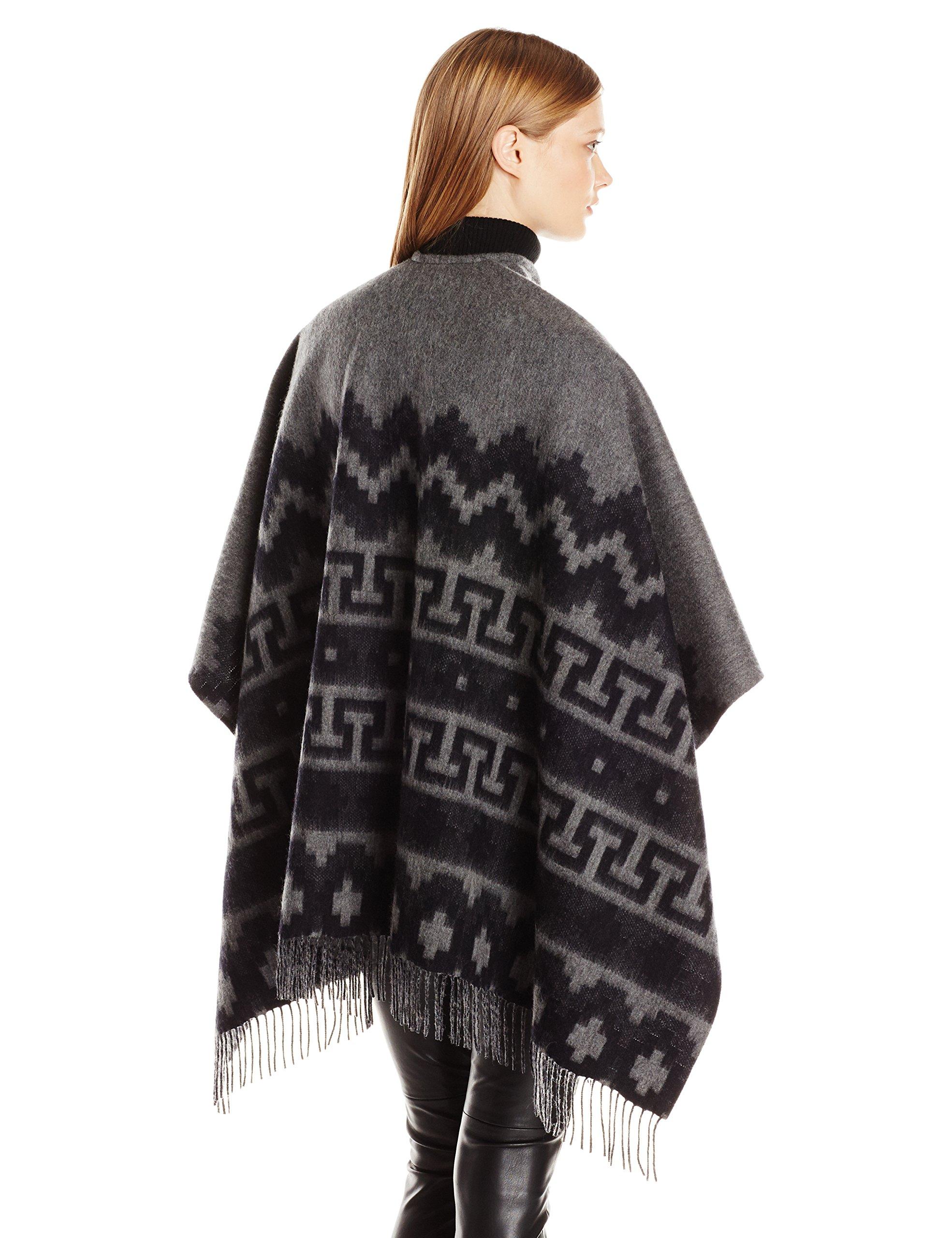 Phenix Cashmere Women's Aztec Merino Wool Jacquard Ruana, Derby Grey/Black, One Size by Phenix Cashmere (Image #2)