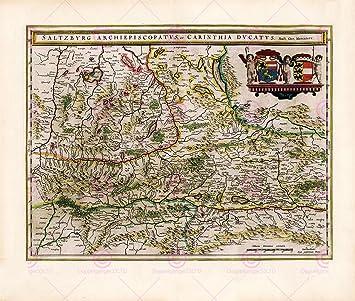 MAP BLAEU THEATRE DU MONDE SALZBURG LARGE REPLICA POSTER PRINT ...