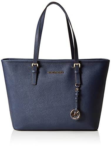 767cc27640 Amazon.com  Michael Kors Jet Set Travel Top Zip Tote in Navy  Shoes