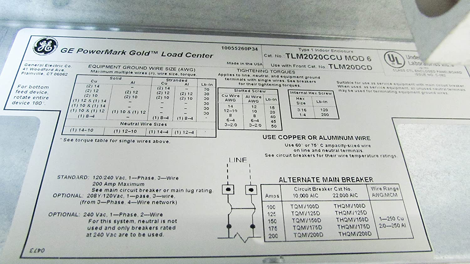 GE TLM2020CCU 1-Phase 3-Wire Convertible Main Lug Load Center 40 ...