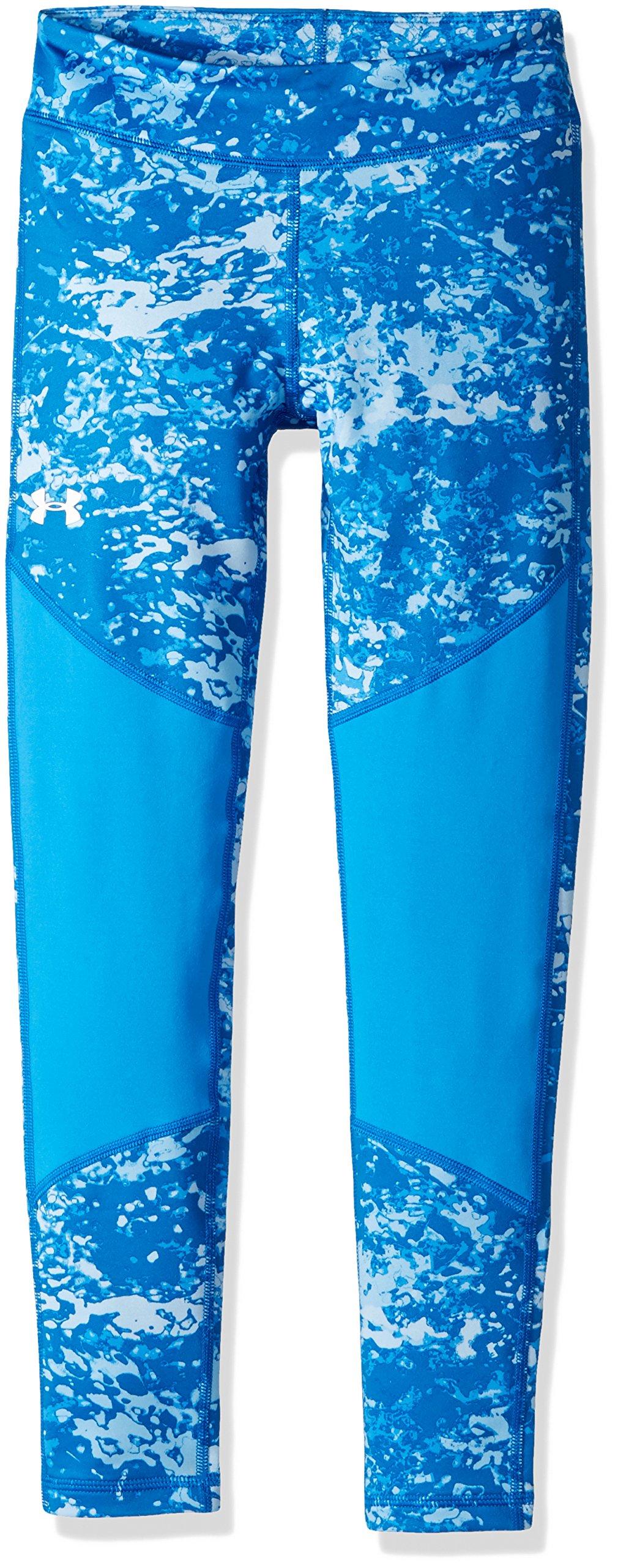 Under Armour Girls' ColdGear Novelty Leggings,Mako Blue (983)/White, Youth Large