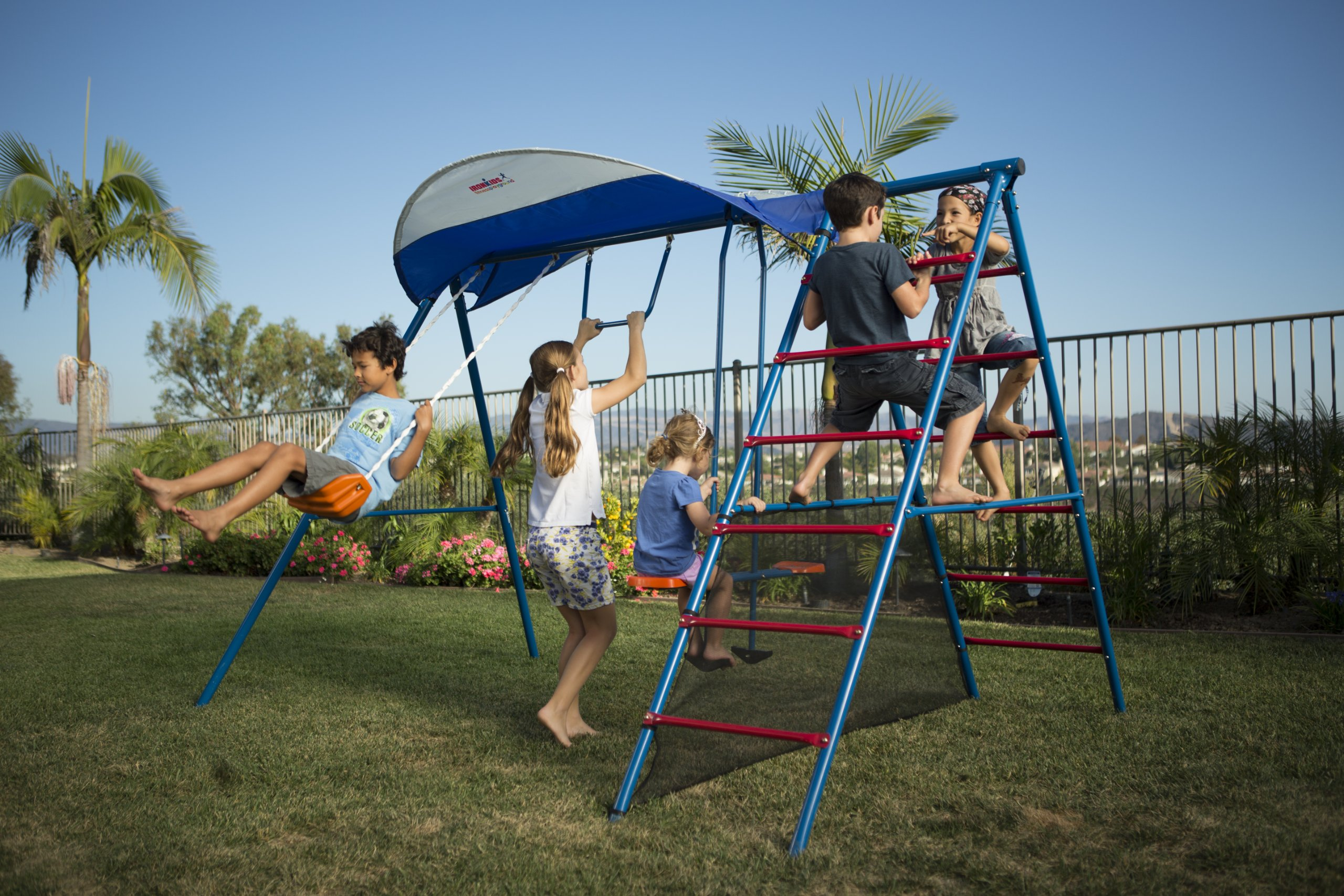 Ironkids Challenge 100 Metal Swing Set with Ladder Climber and UV Protective Sunshade by IRONKIDS (Image #3)
