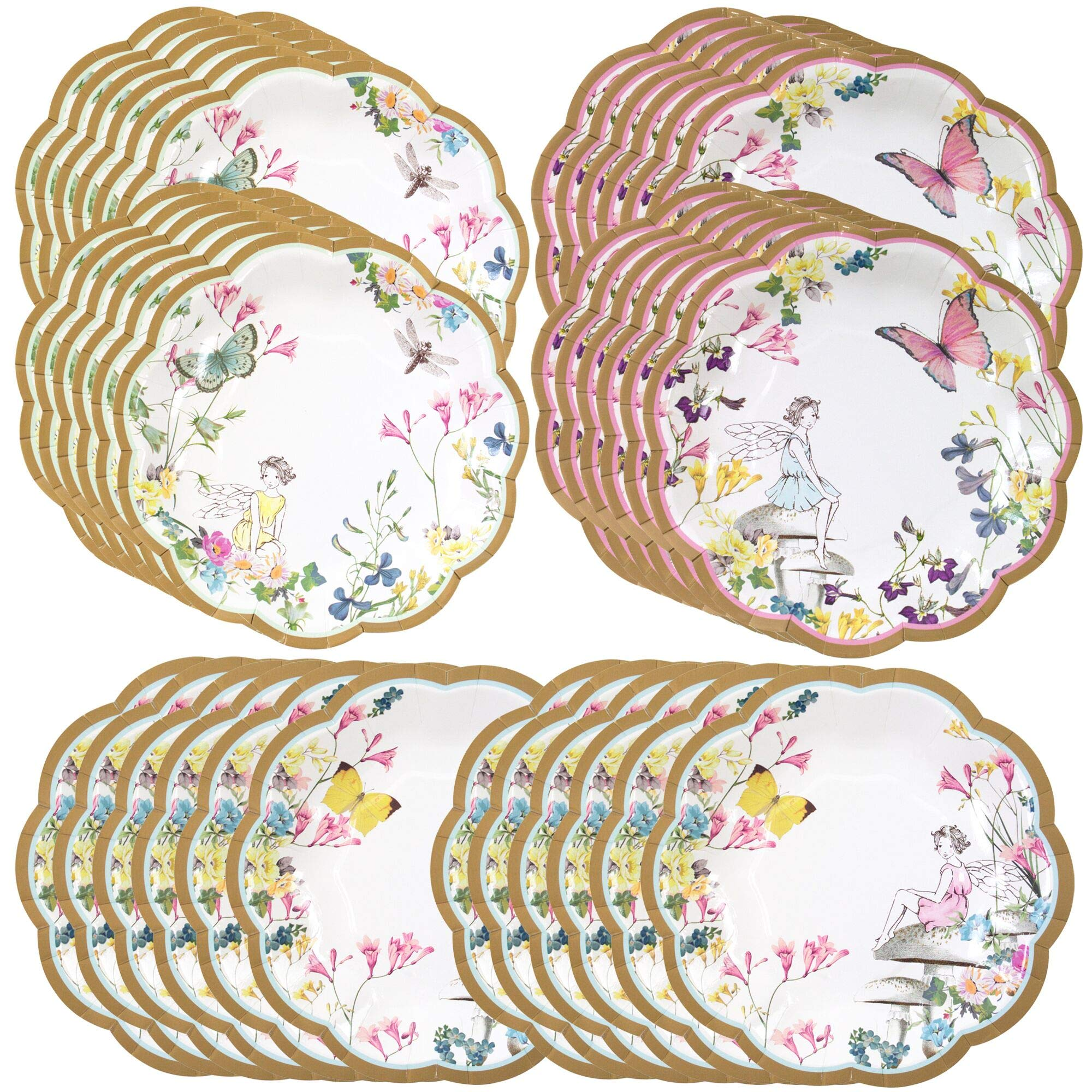 Talking Tables Truly Fairy Paper Plate with Fairy Design for a Tea Party or Birthday, Multicolor (24 Pack) by Talking Tables