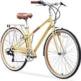 sixthreezero Reach Your Destination Women's Hybrid Bike with Rear Rack, 28 Inches, 7-Speed, Cream