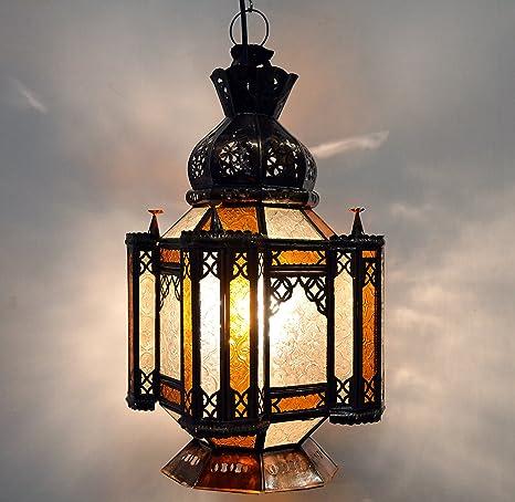 techo de marroquí estrella de forma Lámpara de con vidrio vNOPymn08w