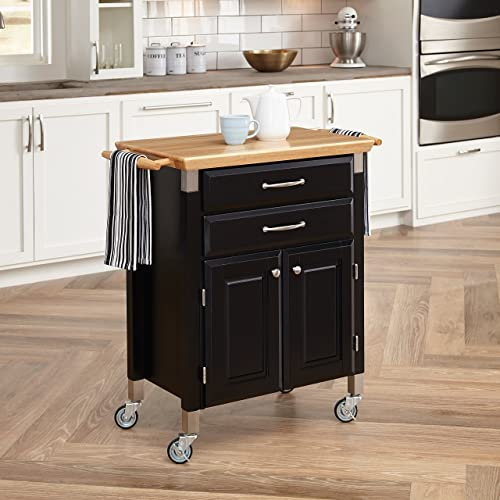 Home Styles Black Dolly Madison Prep and Serve Kitchen Cart with Natural Top, Locking Casters, Two Drawers, Two Storage Cabinets
