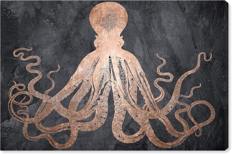 "The Oliver Gal Artist Co. Nautical and Coastal Wall Art Canvas Prints 'Squid Copper' Home Décor, 45"" x 30"", Bronze, Black"