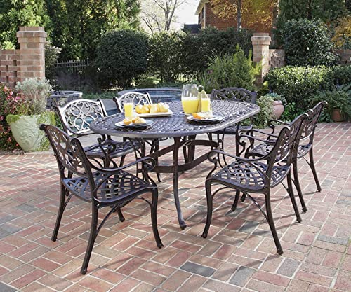 Home Styles Biscayne Seven Piece Bronze Outdoor Patio Dining Set Constructed of Cast Aluminum with Bronze Antique Powder Finish and Protective Clear Coat on Decorative Table Top