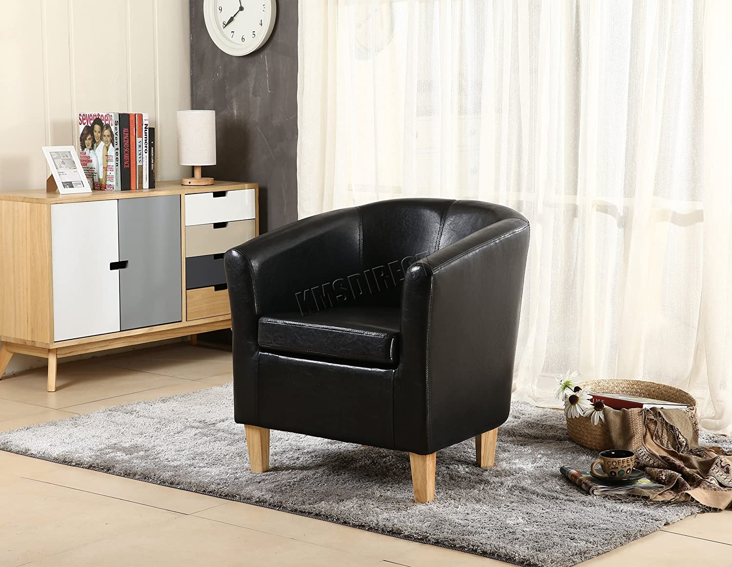 FoxHunter Faux Leather Tub Chair Armchair Dining Living Room Lounge Office Modern Furniture Black New KMS