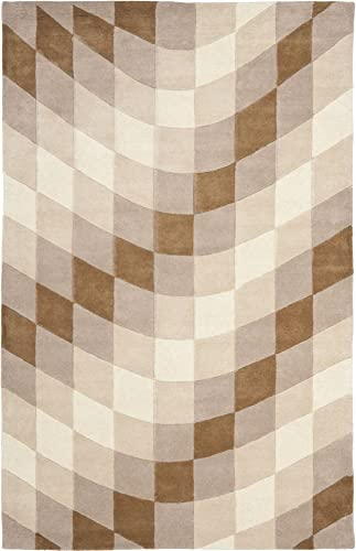 Safavieh Soho Collection SOH782A Handmade Abstract Checkered Sand and Ivory Premium Wool Area Rug 7'6″ x 9'6″
