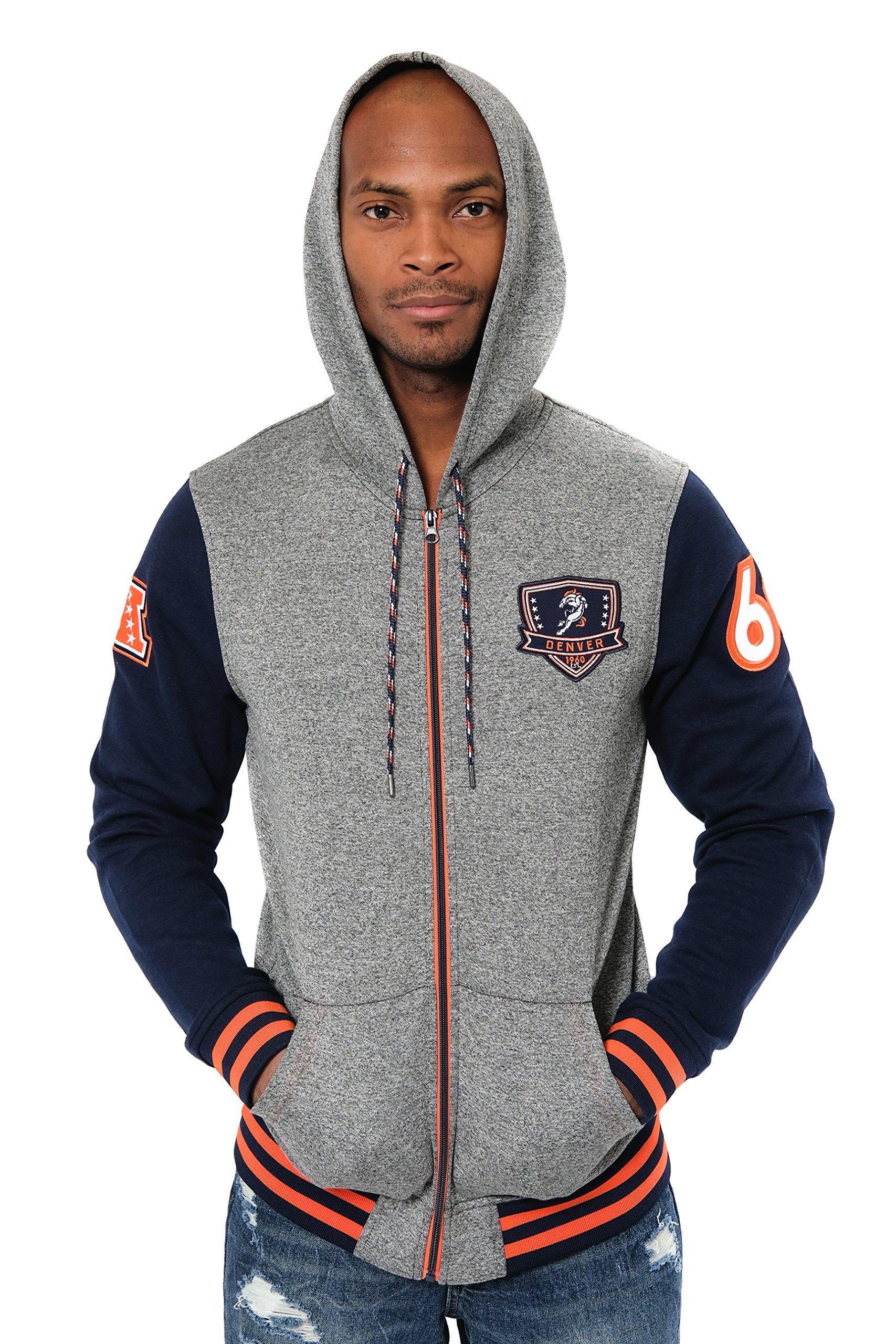 super popular 5e19e d1690 NFL Denver Broncos Men's Full Zip Fleece Hoodie Letterman ...