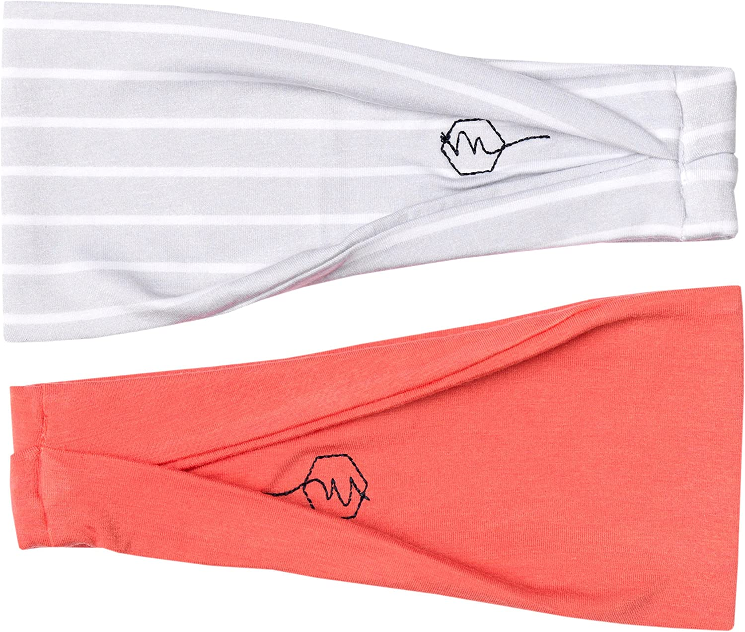 Maven Thread Womens Bow Headband Yoga Running Exercise Sports Workout Athletic Gym Wide Sweat Wicking Stretchy No Slip 2 Pack Set Medical Nurse Doctor Nightingale Bow