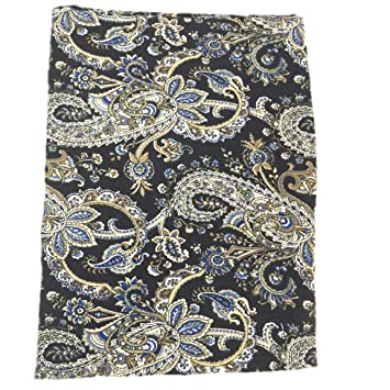 Raymond Waites Tablecloth Oblong Black Blue Earthtones Paisley 60 By 84