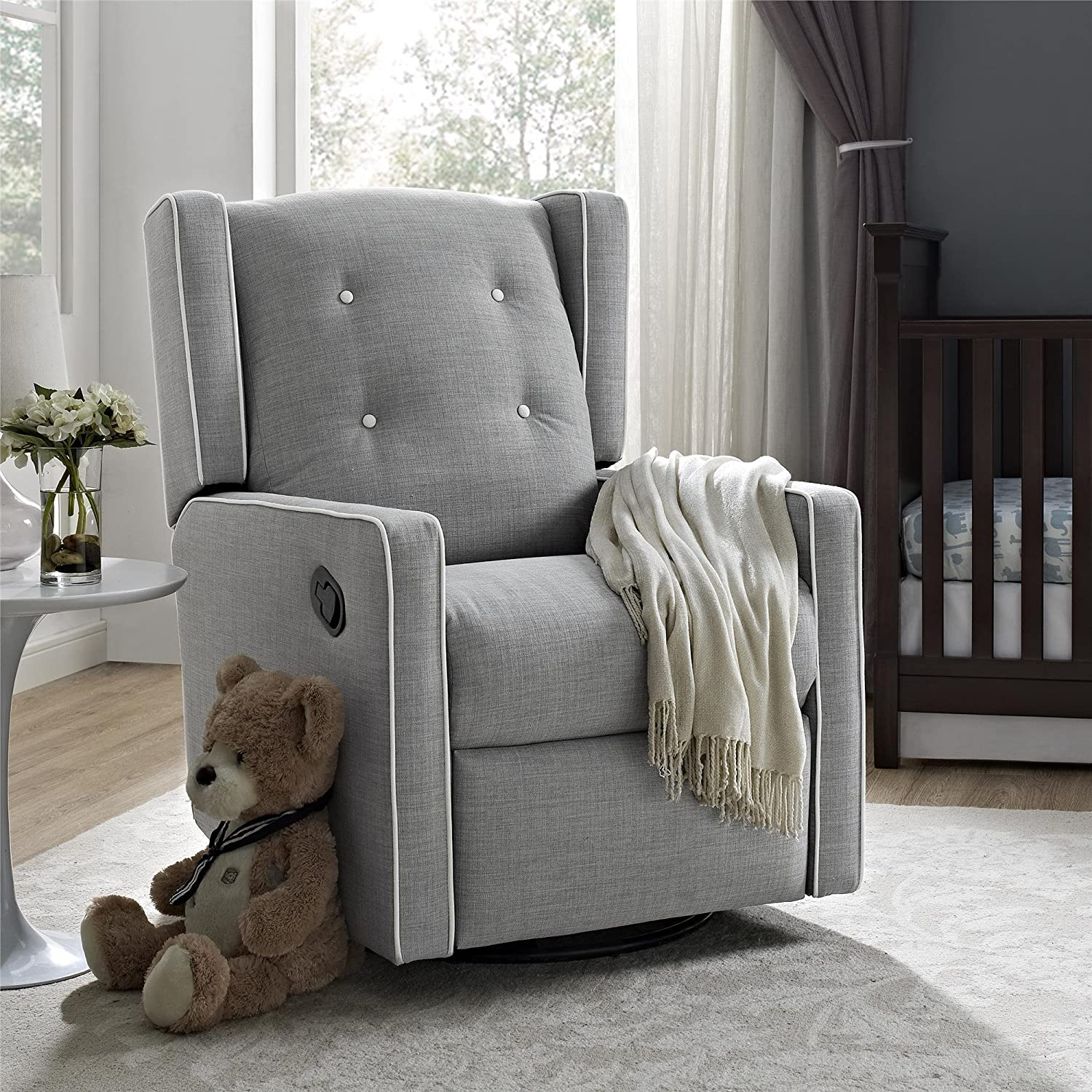 Amazon.com Baby Relax Mikayla Swivel Gliding Recliner Gray Linen Baby : recliner glider nursery - islam-shia.org