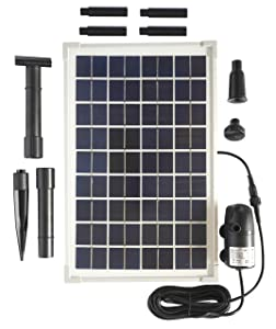 Solar Water Pump Kit -200GPH Submersible Water Pump and 10 Watt Solar Panel for Sun Powered Fountain, Waterfall, Pond Aeration, Hydroponics, Aquarium, Aquaculture (No Battery Backup)