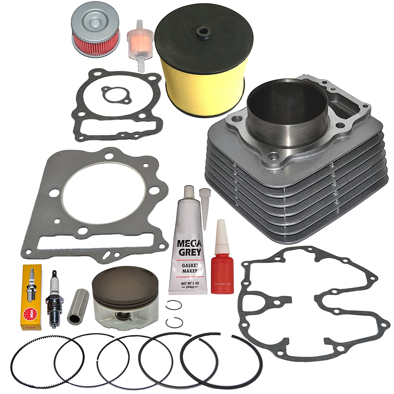 amazon com: piston cylinder gasket rings air filter top end kit set fits honda  trx400ex trx 400ex 1999-2008: automotive
