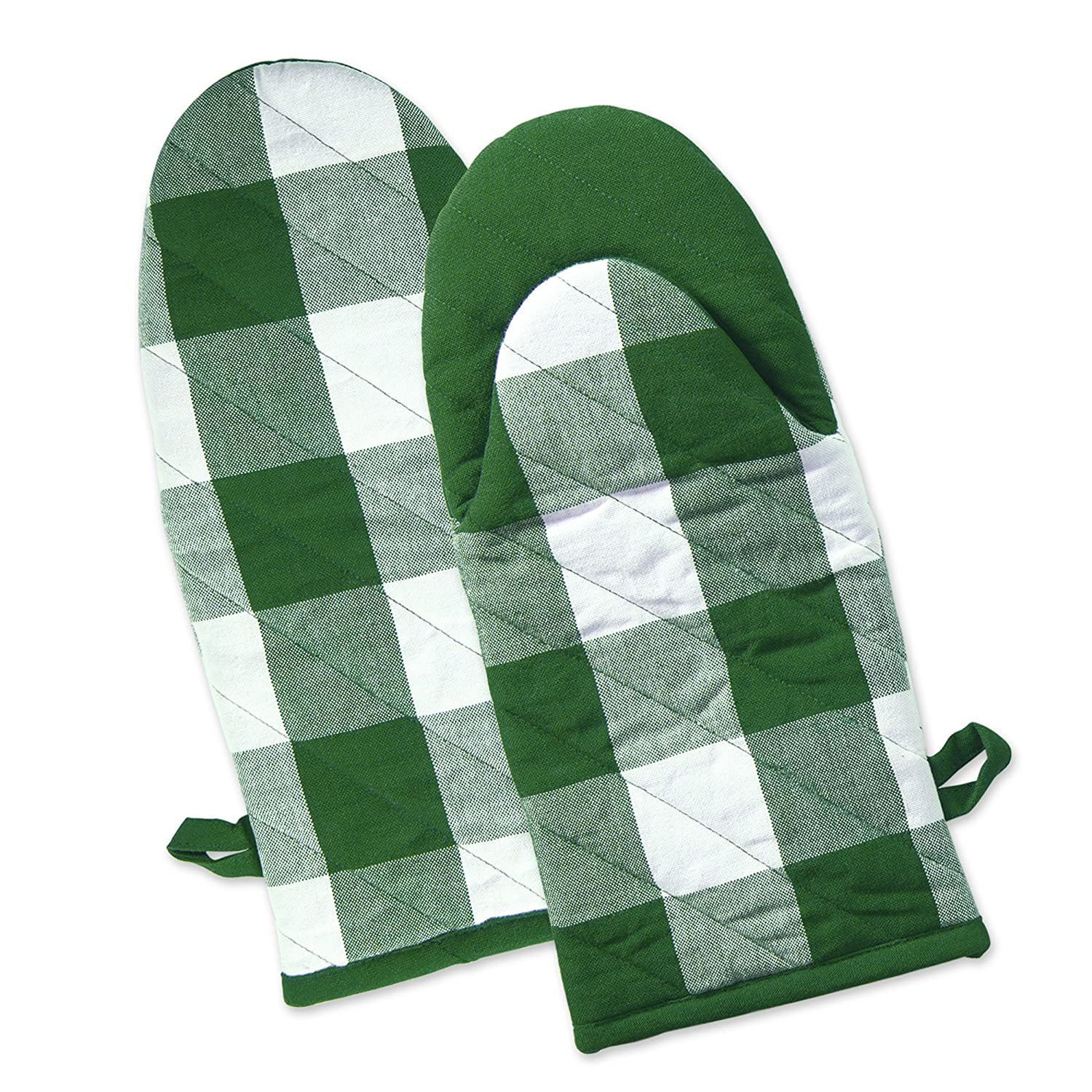 DII Shamrock Heat Resistant Green Buffalo Check Oven Mitts (Set of 2), Green and White Buffalo Check