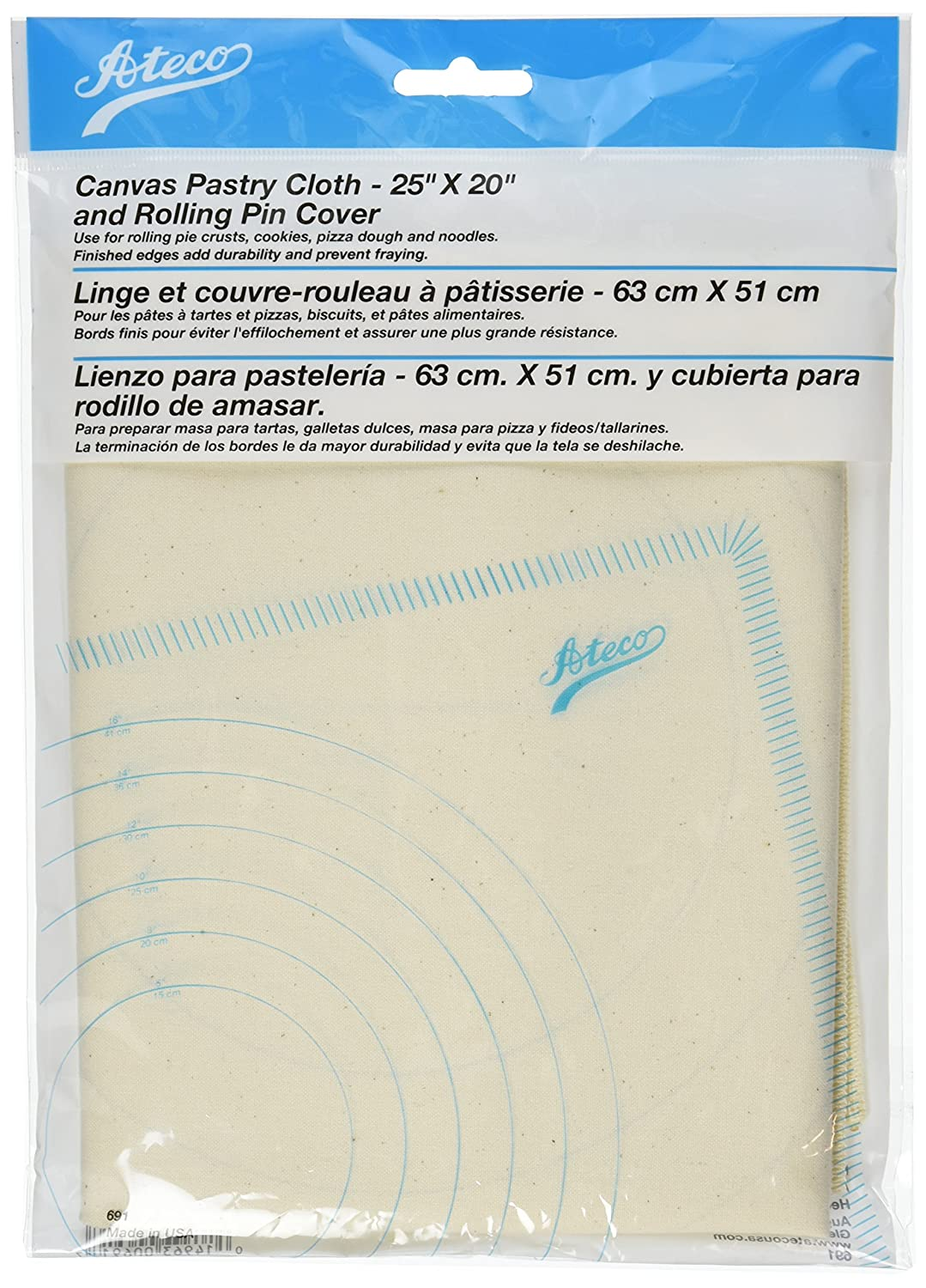 Ateco 691 Canvas Pastry Cloth and Rolling Pin Cover
