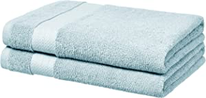AmazonBasics Performance Bath Towels, Set of 2, Aquifer Blue
